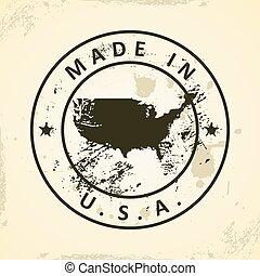 francobollo, mappa, stati uniti