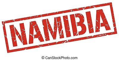 francobollo, quadrato, namibia, rosso