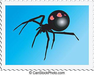 francobollo, ragno
