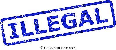 francobollo, rettangolo, cornice, arrotondato, illegale, stile, graffiato
