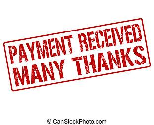 francobollo, ricevuto, molti, ringraziamento, pagamento