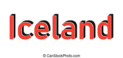 francobollo, rosso, islanda, bianco, testo