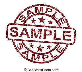francobollo, simbolo, o, campione, sapore, esempio, mostra