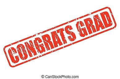 francobollo, testo, grad, rosso, congrats