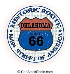 francobollo, tracciato, storico, oklahoma