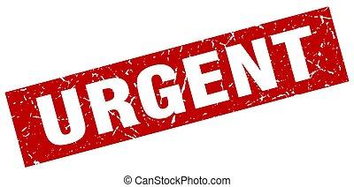 francobollo, urgente, quadrato, grunge, rosso