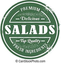 francobollo, vendemmia, stile, insalata