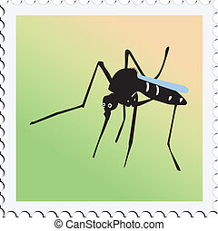 francobollo, zanzara