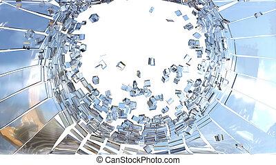 frantumato, pezzi, demolishing:, vetro, cubico