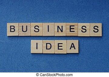 frase, legno, affari, quadrato, idea, lettere, piccolo