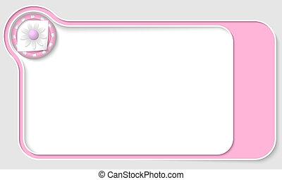 frecce colore rosa, scatola, testo, fiore