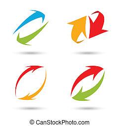 frecce, colorito, set, 3d