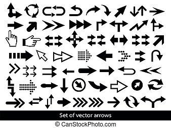 frecce, vettore, icon., set, mega, freccia