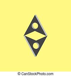 freccia, collegato, vettore, 3d, logotipo