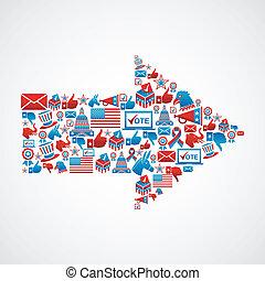 freccia, forma, elezioni, ci, icone