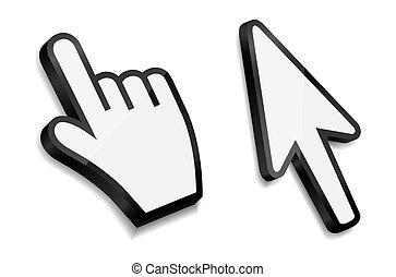 freccia, illustrazione, mano, vettore, cursori, topo