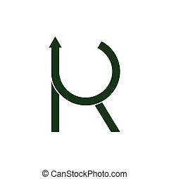 freccia, lettera, vettore, rk, cerchio, logotipo