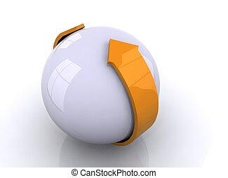 freccia, sfera, 3d