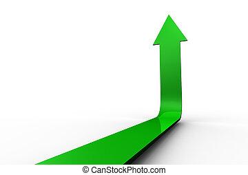 freccia, su, indicare, verde