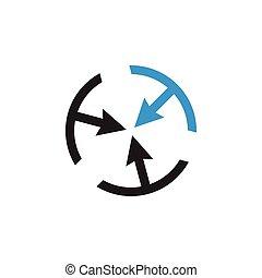 freccia, vettore, logotipo, cerchio, geometrico