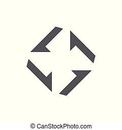 freccia, vettore, turbina, logotipo, quadrato