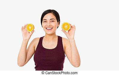 freckles, giallo, bello, oranges., makeup., gioioso, concept., asiatico, presa, ragazza, adolescente, fetta, rosso, giapponese, divertente, donna, acconciatura, bellezza, arancia