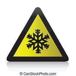 freddo, avvertimento, triangolare, segno