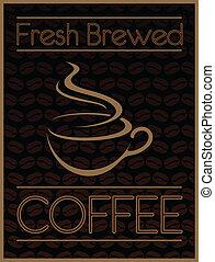 fresco, caffè, disegno, elaborare