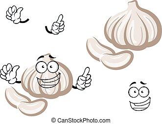 fresco, cartone animato, bulbo, aglio, verdura