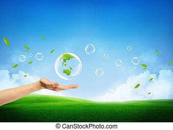 fresco, concetto, terra verde, nuovo