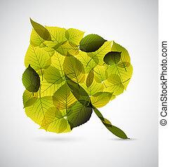 fresco, fatto, foglia, mette foglie, più piccolo