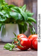 fresco, foglia, basilico, vecchio, pomodori