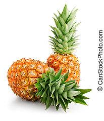 fresco, foglie, frutte, verde, ananas