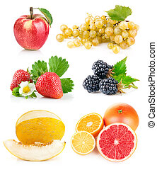 fresco, foglie, set, verde, frutte
