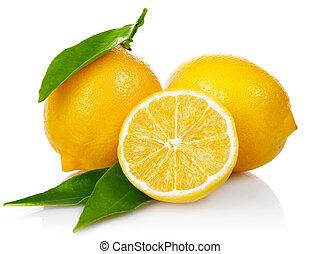 fresco, foglie, taglio, verde, limoni