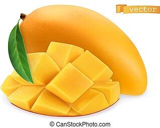 fresco, fruit., mango., 3d, vettore, giallo, realistico, icona