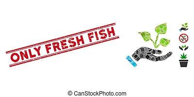 fresco, graffiato, agricoltura, mano, mosaico, progetto, fish, soltanto, sigillo, linee