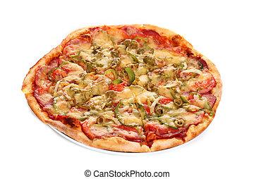 fresco, immagine, italiano, isolato, pizza
