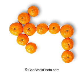 fresco, puntatore, succoso, mandarini, sinistra