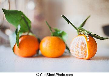 fresco, tre, mandarini, succoso