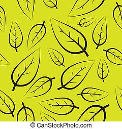 fresco, verde, mette foglie, modello