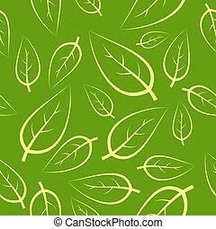 fresco, verde, seamless, mette foglie, modello