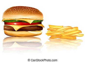frie., hamburger, vector., francese