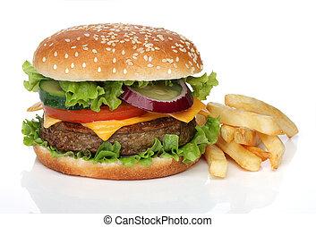 frigge, saporito, hamburger, francese