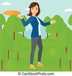 frisbee., donna, gioco