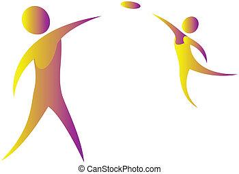 frisbee, esseri umani, due, gioco