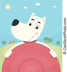 frisbee, parco, cane, illustrazione