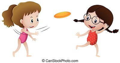 frisbee, ragazze, due, gioco