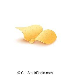 fritto, vettore, realistico, patata, sagoma, isolated., dorato, illustrazione, patatine fritte