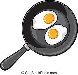 frittura, uova, fritto, pan